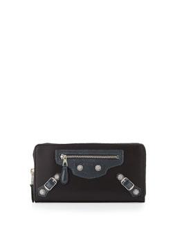 Calfskin Giant Zip Wallet, Gray