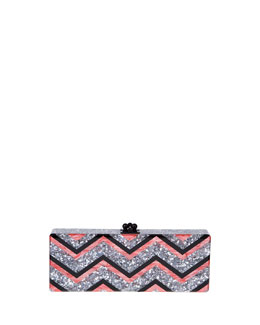 Edie Parker Flavia Chevron Confetti Clutch Bag, Multicolor