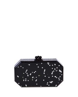 Edie Parker Fiona Confetti Acrylic Clutch Bag, Black