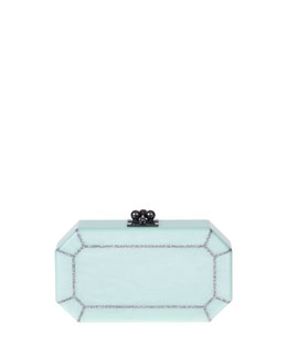 Edie Parker Fiona Faceted Acrylic Clutch Bag, Mint