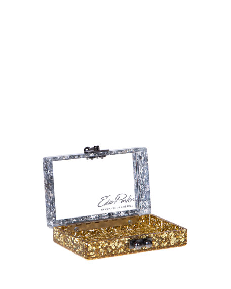 Minnie Half & Half Acrylic Clutch Bag, Silver/Gold
