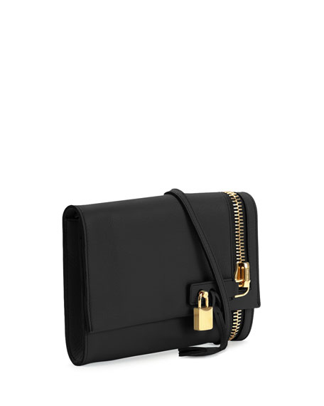 Alix Small Zip & Padlock Crossbody Bag, Black