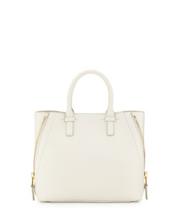 Jennifer Small Trap Calfskin Tote Bag, White