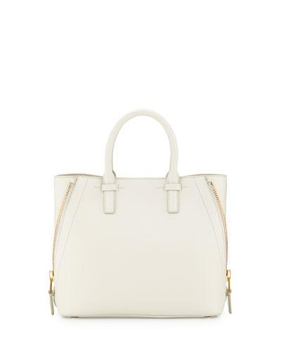Jennifer Small Trap Calfskin Tote Bag, White