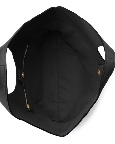 Jennifer Side-Zip Leather Hobo Bag, Black