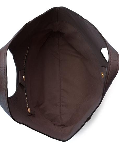 Jennifer Side-Zip Leather Hobo Bag, Dark Brown