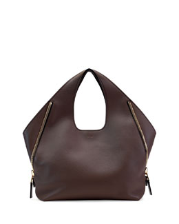 Jennifer Side-Zip Leather Hobo Bag, Dark Brown