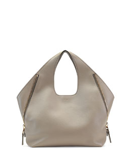 Jennifer Side-Zip Leather Hobo Bag, Taupe