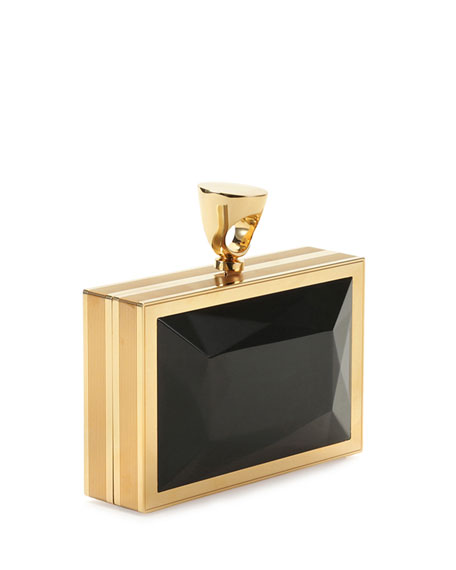 Faceted Brass Ring Clutch Bag, Black