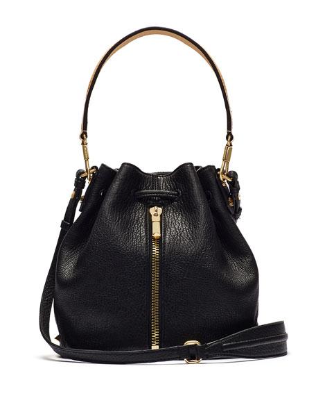 Cynnie Large Grain and Vachetta Mini Bucket Bag, Black