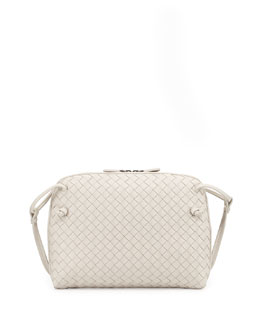Intrecciato Small Crossbody Bag, White