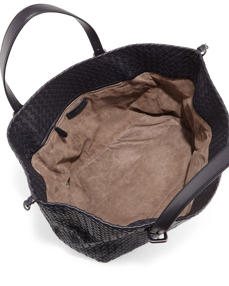 Intrecciato Large Lambskin Tote Bag, Navy