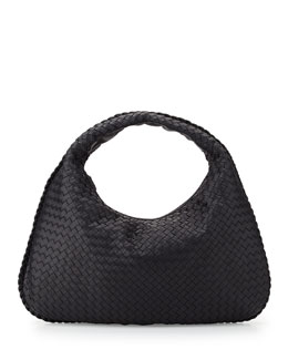 Veneta Large Woven Hobo Bag, Navy