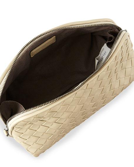 Medium Woven Cosmetics Bag,  Beige