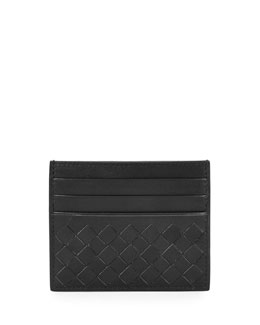 Woven Leather Credit Card Sleeve, Black
