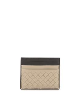 Intrecciato Leather Card Case, Beige Multi