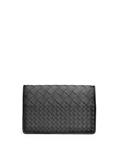 Intrecciato Medium Woven Clutch Bag, Black