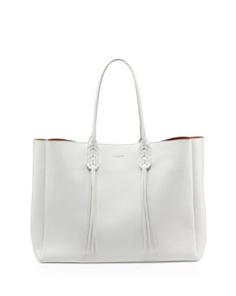 Lanvin Leather Fringe Tote Bag, White