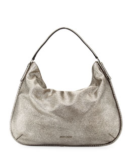 Zoe Large Metallic Hobo Bag, Gunmetal