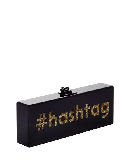 Flavia Acrylic #Hashtag Clutch Bag, Black/Gold