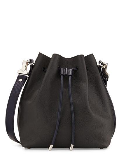 Medium Bicolor Bucket Bag, Gray/Navy