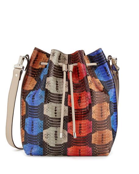 Striped Snakeskin Large Bucket Bag