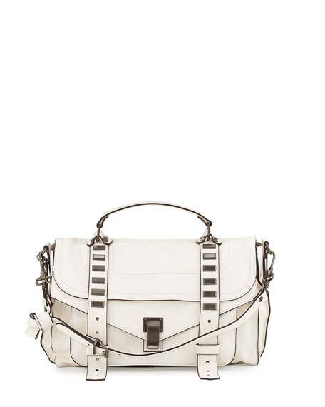 PS1 Medium Stud Satchel Bag, White