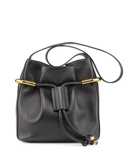 Chloe Emma Small Drawstring Shoulder Bag, Black