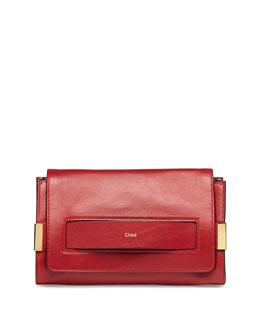Chloe Elle Clutch Bag with Shoulder Strap, Red
