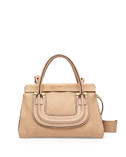 Chloe Everston Medium Double Satchel Bag, Blush Nude