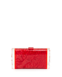 Edie Parker Lara Acrylic Ice Clutch Bag, Red