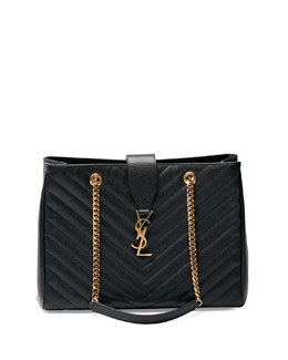 Monogram Matelasse Shopper Bag, Black