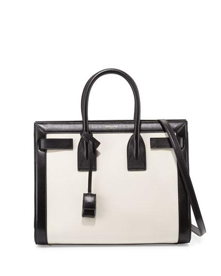 93baf56d903 Saint Laurent Sac De Jour Small Carryall, White/Black