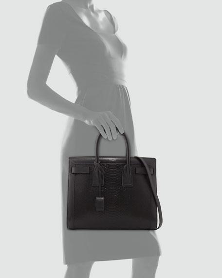 Sac de Jour Small Python-Stamped Tote Bag, Black
