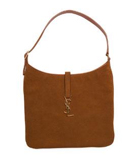 Monogram Medium Flat Suede Hobo Bag, Camel