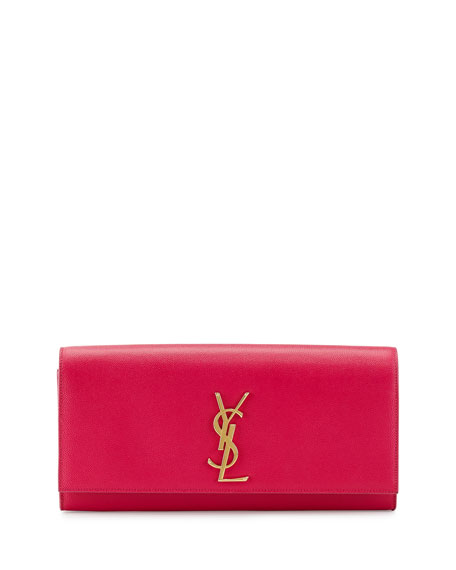Monogram Calfskin Clutch Bag, Fuchsia