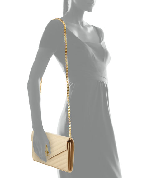 Monogram Matelasse Shoulder Bag, Nude