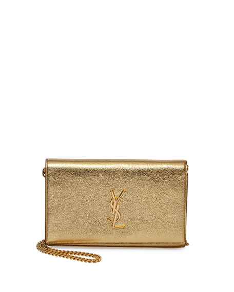 Monogram Metallic Chain Wallet, Gold