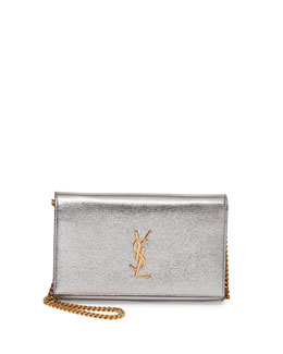 Monogram Metallic Chain Wallet, Silver