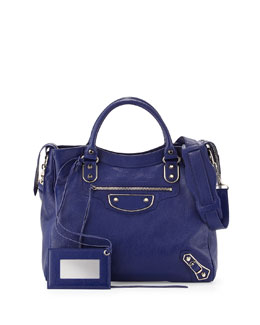 Balenciaga Metallic Edge Classic Velo Bag, Blue