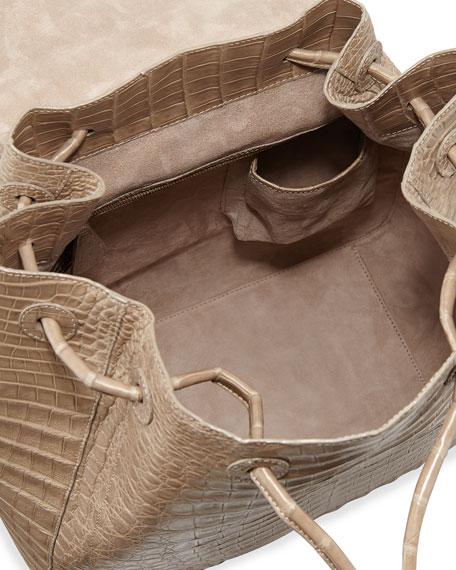 Matte Crocodile Backpack, Sand