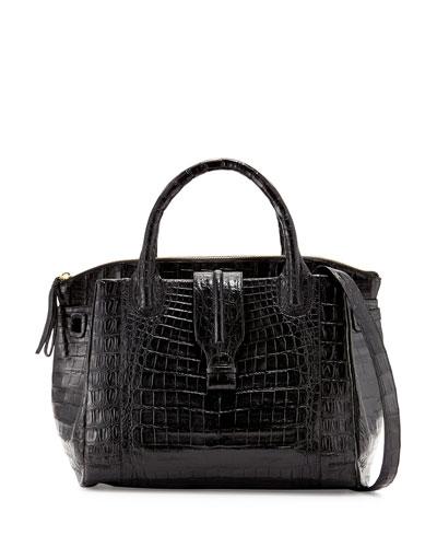 New Cristina Large Crocodile Tote Bag, Black Matte