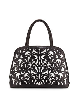 Nancy Gonzalez Cutout-Overlay Medium Crocodile Satchel Bag, Black/White Matte