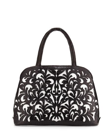 Cutout-Overlay Medium Crocodile Satchel Bag, Black/White Matte