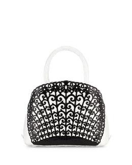 Small Crocodile Overlay Satchel Bag, White/Black