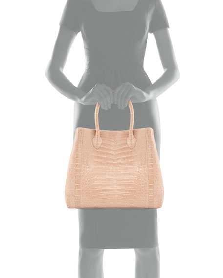 Crocodile Tote Bag, Nude Matte