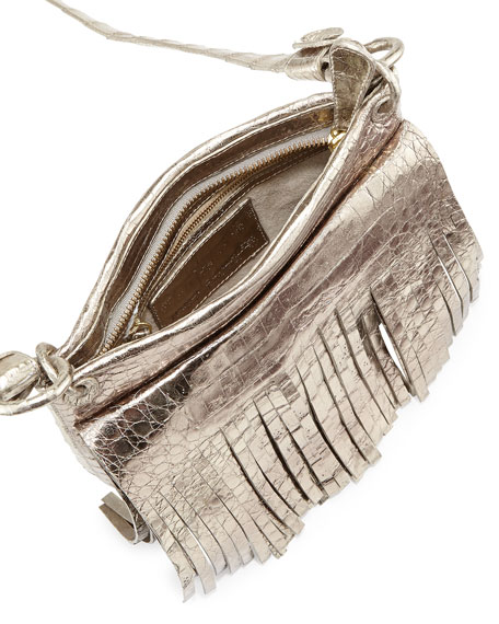 Metallic Crocodile Fringe Crossbody Bag