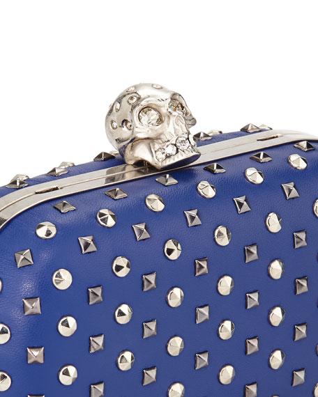 Studded Crystal-Skull Clutch Bag, Blue