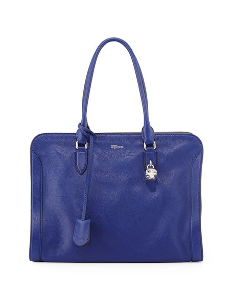 Padlock Medium Zip-Around Satchel Bag, Blue