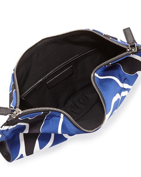 De-Manta Floral-Print Clutch Bag, Black/Blue/White